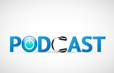 Ilustración de Illustration of the word Podcast with headphones isolated on a white background. - Imagen libre de derechos