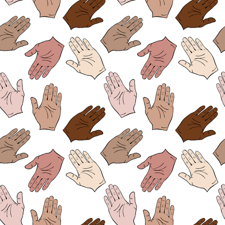 Ilustración de Palms of different skin colors are drawn to each other. Seamless pattern isolated on white background - Imagen libre de derechos