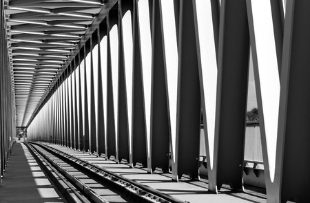 Photo for Railway metal bridge perspective view - Royalty Free Image