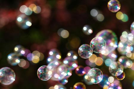 Foto de The rainbow bubbles from the bubble blower - Imagen libre de derechos