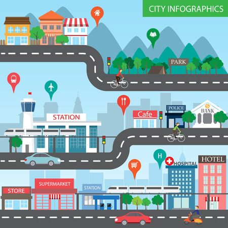 Illustration pour city infographics background and elements, there are village, building, road, park, transportation, Can be used for web design, info chart, brochure template.  - image libre de droit