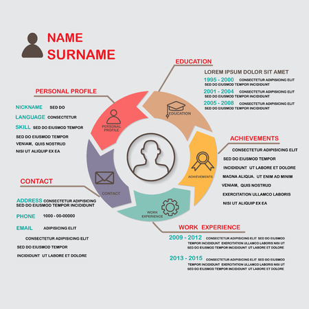Illustration pour resume (cv) template infographics background and element,  Can be used for personal statistic , human resource data, job interview, web design, info chart.  - image libre de droit