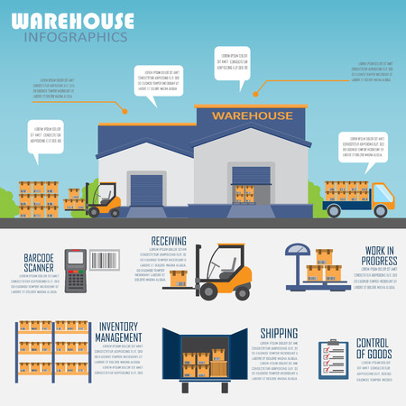 Illustration pour warehouse, cargo, logistic business management infographics background and elements. Can be used for business data, web design, brochure template. - image libre de droit