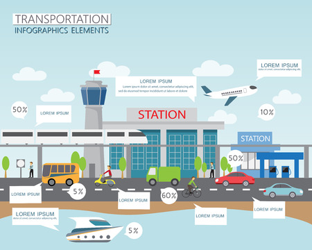 Illustration pour transportation and city traffic infographics element. can be used for workflow layout, diagram, web design, banner template. Vector illustration - image libre de droit