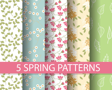 Illustration pour 5 different  spring patterns,  Pattern Swatches, vector, Endless texture can be used for wallpaper, pattern fills, web page,background,surface - image libre de droit