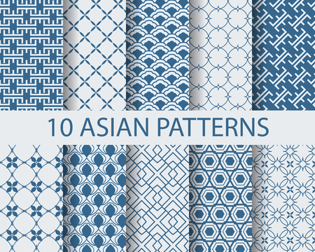 Illustration for 10 different chinese asian traditional seamless patterns, Swatches, vector, Endless texture can be used for wallpaper, pattern fills, web page,background,surface - Royalty Free Image