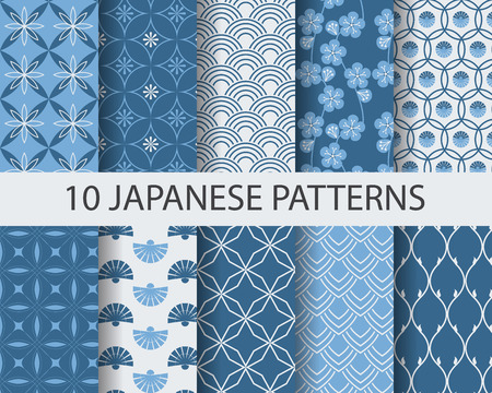 Ilustración de 10 different japanese asian traditional seamless patterns, Swatches, vector, Endless texture can be used for wallpaper, pattern fills, web page,background,surface - Imagen libre de derechos