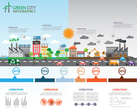 Ilustración de Environment, ecology infographic elements. Environmental risks and pollution, ecosystem.  Can be used for background, layout, banner, diagram, web design, brochure template. Vector illustration - Imagen libre de derechos