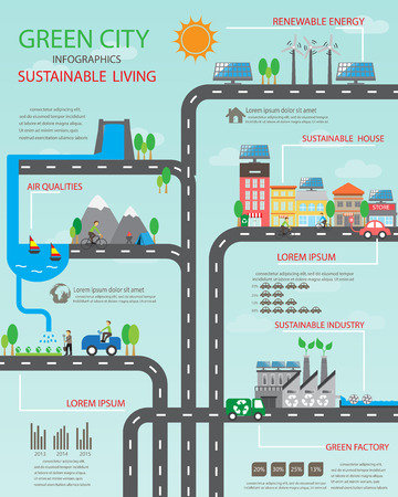 Illustration pour Environment, ecology infographic elements. Environmental , ecosystem.  Can be used for background, layout, banner, diagram, web design, brochure template. Vector illustration - image libre de droit