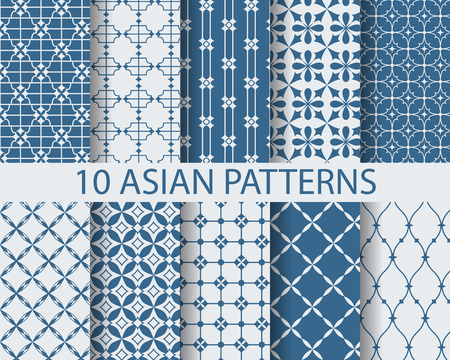 Illustration pour 10 different chinese asian traditional patterns, Swatches, vector, Endless texture can be used for wallpaper, pattern fills, web page,background,surface - image libre de droit