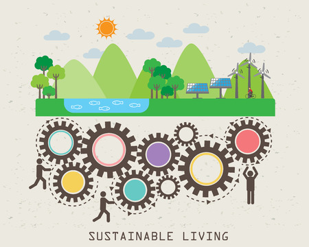 Illustration pour Environment friendly, ecology infographic elements. sustainable living. abstract design, Can be used for background, layout, banner, web design, brochure template. Vector illustration - image libre de droit