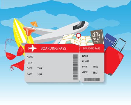 Ilustración de airplane travel ticket. modern style background, for planning a summer vacation, online booking a ticket on a trip, flying a plane to travel destination. vector illustration - Imagen libre de derechos