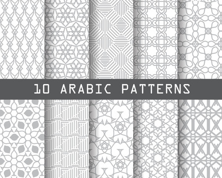 Photo pour 10 arabic patterns,  Pattern Swatches, vector, Endless texture can be used for wallpaper, pattern fills, web page,background,surface - image libre de droit