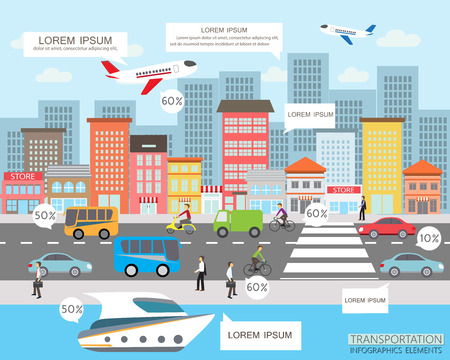 Ilustración de transportation and city traffic infographics element. can be used for workflow layout, diagram, web design, banner template. Vector illustration - Imagen libre de derechos