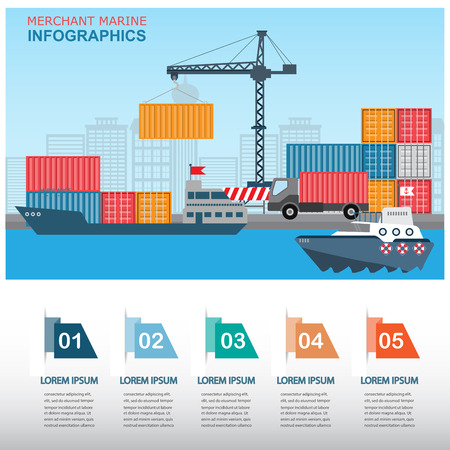 sea transportation and logistic infographics. there are harbour and containers with step option banner, Can be used for business data, web design, brochure template, background. vector illustration.
