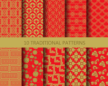 Photo for 10 different chinese vector patterns. Endless texture can be used for wallpaper, pattern fills, web page background,surface textures. - Royalty Free Image