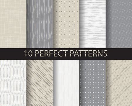 Illustration for 10 different beautiful classic linear and dot patterns. Endless texture can be used for wallpaper, pattern fills, web page background,surface textures,tile, greeting card, scrapbook, backdrop - Royalty Free Image