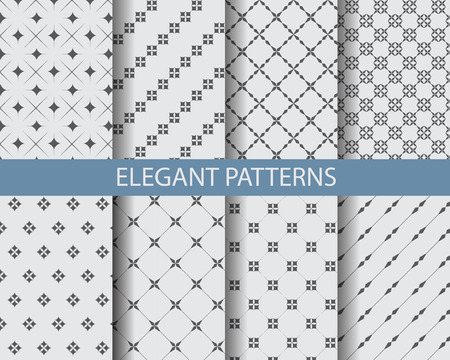 Illustration for 8 different classic black and white patterns. Endless texture can be used for wallpaper, pattern fills, web page background,surface textures. - Royalty Free Image