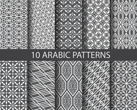 Photo pour 10 different arabic patterns,  Pattern Swatches, vector, Endless texture can be used for wallpaper, pattern fills, web page,background,surface - image libre de droit