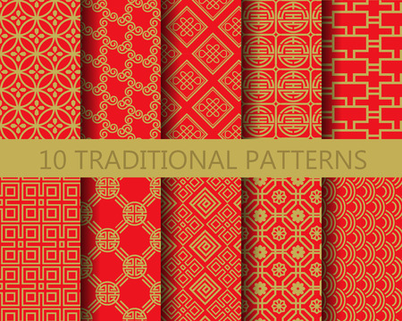 Photo pour 10 different chinese vector patterns. Endless texture can be used for wallpaper, pattern fills, web page background,surface textures. - image libre de droit