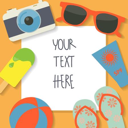 Ilustración de summer vacation background, text can be add for advertising, wallpaper, card - Imagen libre de derechos