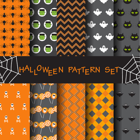Photo pour 10 different halloween vector patterns. Endless texture can be used for wallpaper, pattern fills, web page,background,sur face - image libre de droit