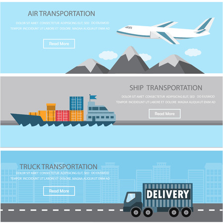Photo pour Shipment and cargo infographics elements. There are air, ship, and truck transportation. Can be used for logistic business data, web page design, brochure template, advertising background.  - image libre de droit