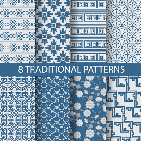 Illustration pour 8 different chinese vector patterns. Endless texture can be used for wallpaper, pattern fills, web page background,surface textures. - image libre de droit