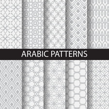 Illustration pour 10 arabic patterns, Pattern Swatches, vector, Endless texture can be used for wallpaper, pattern fills, web page,background,surface - image libre de droit
