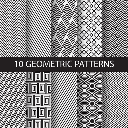 Illustration for 10 different black and white stripes patterns, Swatches, vector, Endless texture can be used for wallpaper, pattern fills, web page,background,surface. vector illustration - Royalty Free Image