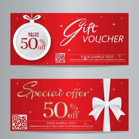 Illustration pour red christmas and new year gift voucher certificate coupon template. can be use for business shopping card, customer sale and promotion, layout, banner, web design. vector  illustration - image libre de droit
