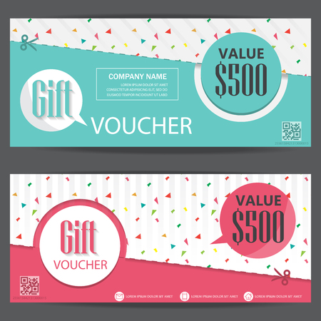 Illustration pour gift voucher certificate coupon template, cute and modern style. can be use for business shopping card, customer sale and promotion, layout, banner, web design. vector illustration - image libre de droit