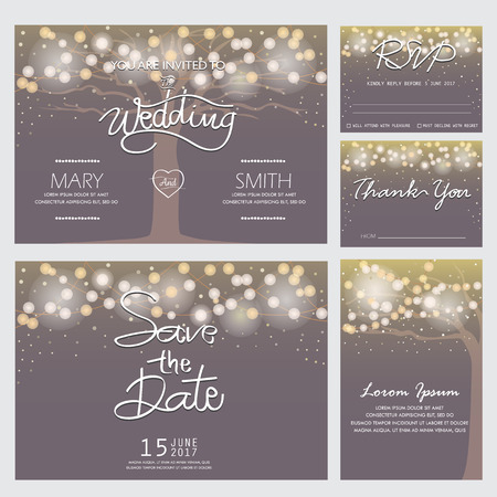 Ilustración de wedding invitation, RSVP, and Thank you card  templates,light and tree concept. can be use for party invitation, banner, web page design element or holiday greeting card. vector illustration - Imagen libre de derechos