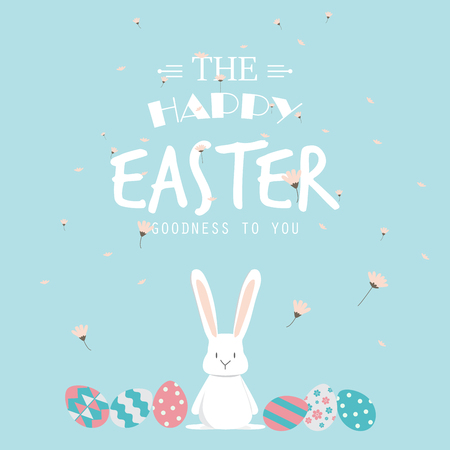 Illustration pour Happy easter day. cute bunny Ears with eggs and text  logo on sweet blue background, can be use for greeting card, text can be added.  vector illustration - image libre de droit