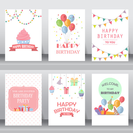 Ilustración de happy birthday, holiday, christmas greeting and invitation card.  there are balloon, gift boxes, confetti, cup cake. layout template in A4 size. vector illustration - Imagen libre de derechos