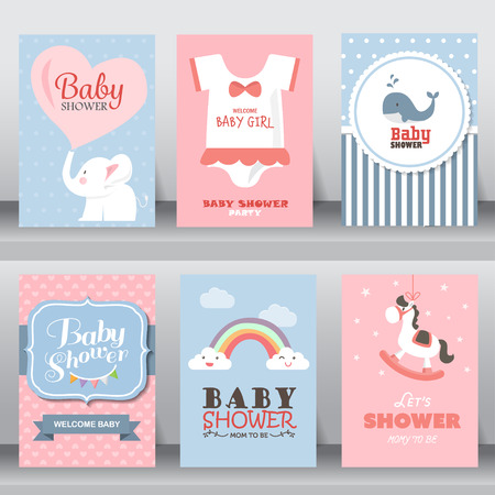 Ilustración de happy birthday, holiday, baby shower celebration greeting and invitation card. - Imagen libre de derechos