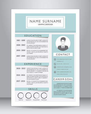 Photo pour Job resume or CV template layout template in A4 size. vector illustration - image libre de droit