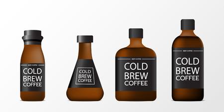 Ilustración de 3d blank cold brew coffee bottle realistic set isolated on white background. Vector illustration - Imagen libre de derechos