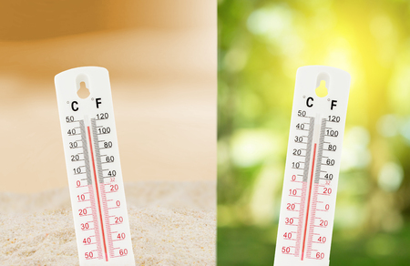 Photo for Tropical temperature, measured on an outdoors thermometer with compare between the nature environment concept. - Royalty Free Image