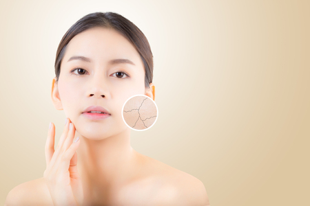 Photo pour skincare and health and cosmetics concept - beautiful asian young woman face with wrinkles over circles for advertising. - image libre de droit