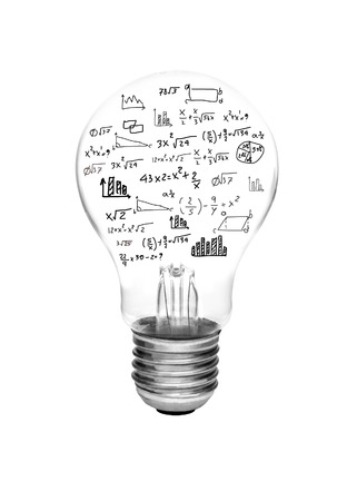 Foto de idea concept - light bulbs with bright glowing with math formula and graph isolated on white background. - Imagen libre de derechos