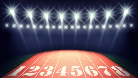 Track lanes and floodlights , summer sports competitions stadium
