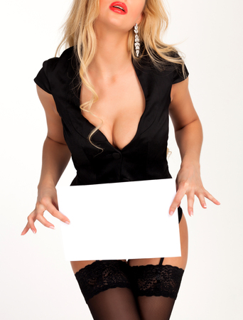 Photo pour Sexy woman holding two blank paper sheets with a place for information - image libre de droit
