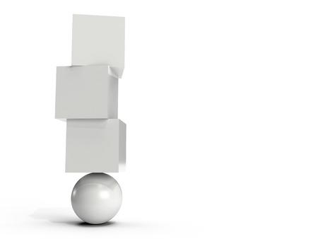 Foto de Three white boxes balancing on an orb - Imagen libre de derechos