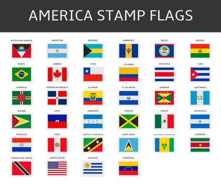 Illustration for america stamps flags vector - Royalty Free Image