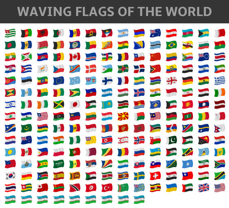 Illustration pour waving flags of the world - image libre de droit