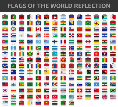 Illustration pour flags of the world reflection - image libre de droit