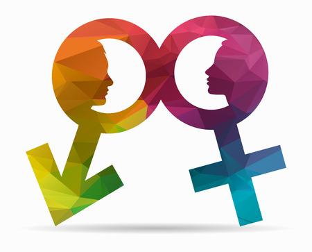 Illustration pour profile man and woman poly icon - image libre de droit