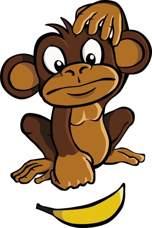 A cartoon monkey looking at a banana and scratching his head.