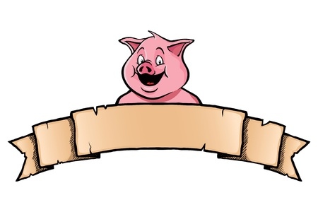 Smiling pig with ribbon banner